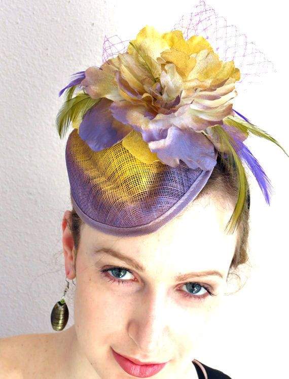 Fascinator Hat Lavender Wedding Bridal Shower Heather Yellow Mini Dramatic