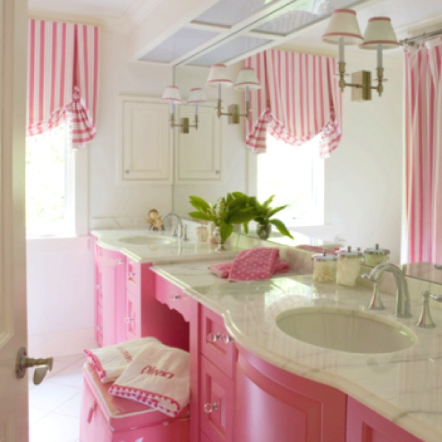 Painted Cabinets For The Girls Bathroom Not This Pink But Just The Idea Of Painted Cabinets
