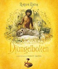"""Djungelboken - Rudyard Kipling """"Mowgli räddas som liten från Shere Khan, tigern med de gnistrande ögonen. Han uppfostras enligt djungelns lag och lär sig jaga och tala djungelvarelsernas olika språk. Men Mowgli är människa, och efterhand förstår han att han måste återvända till de sina. Men först måste han möta sin fiende Shere Khan. Vem av de två är djungelns konung?."""""""