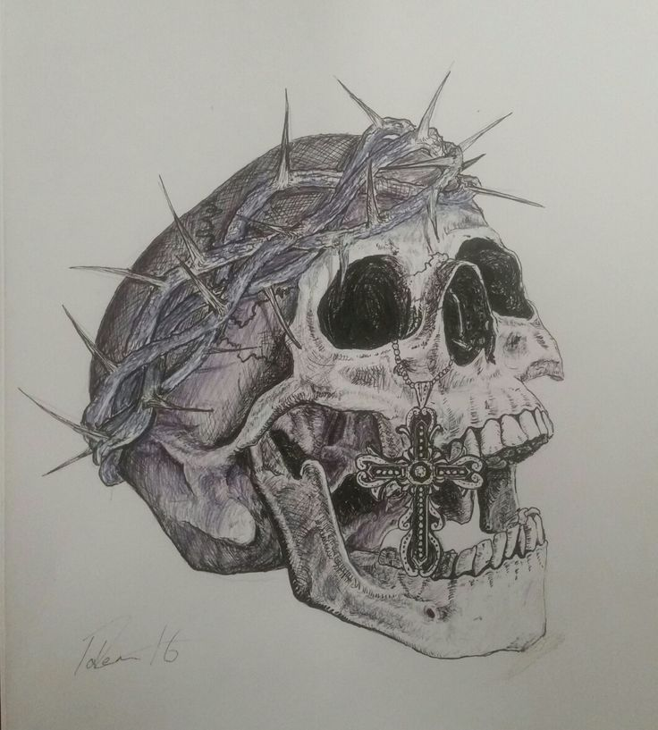 Skull tattoo design done in fine liner pen, biro and pencil.