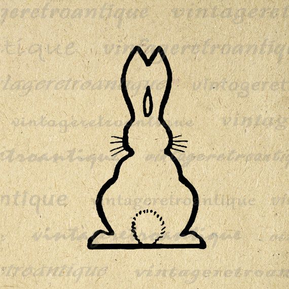 Digital Image Bunny Rabbit Cute Graphic Spring Download Outline Printable Vintage Clip Art. High resolution, high quality digital graphic image from vintage artwork for making prints, transfers, and more great uses. Great for use on etsy items. This digital image is high quality and high resolution at size 8½ x 11 inches. A Transparent background png version is included.
