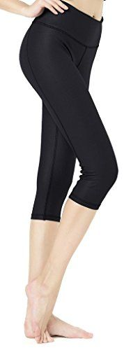 Keywee Women's Basic Yoga Brushed Capri Legging Black Medium