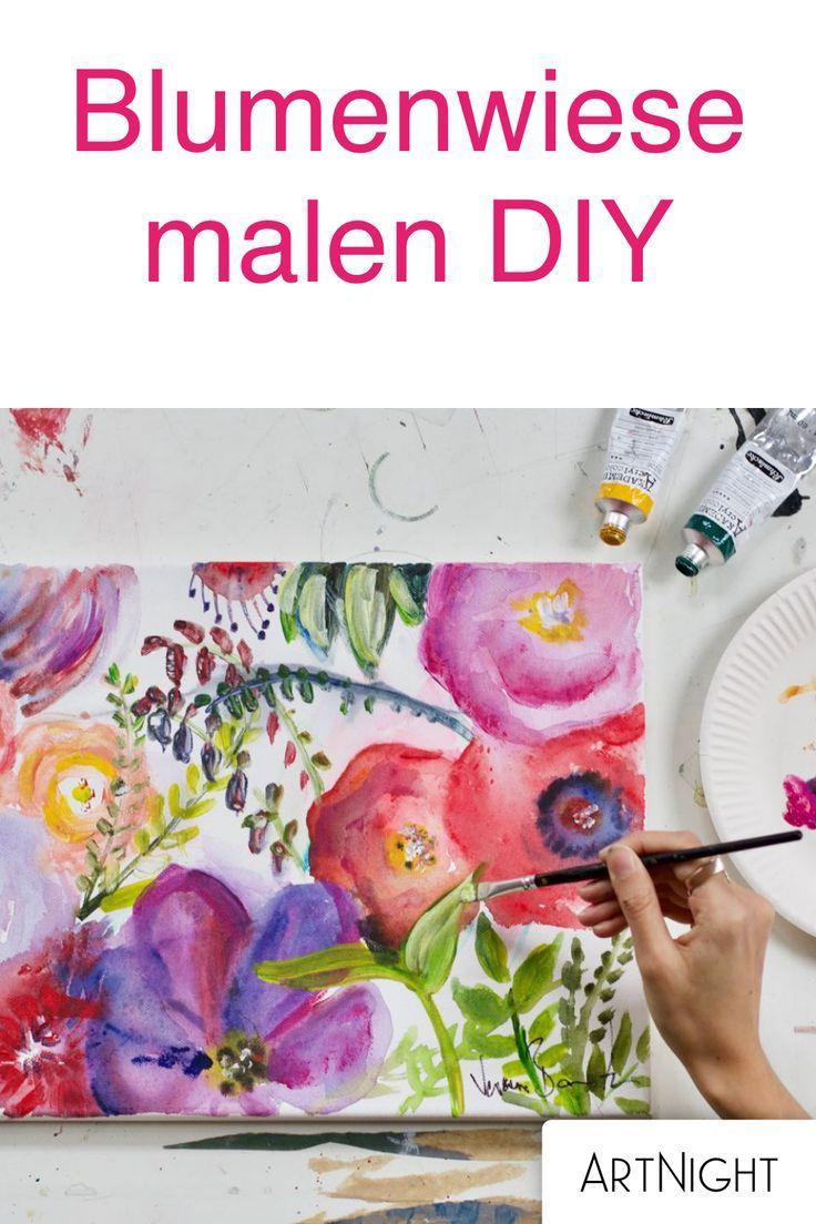 Blumenwiese Malen Mit Acryl Einfache Anleitung Blumen Malen