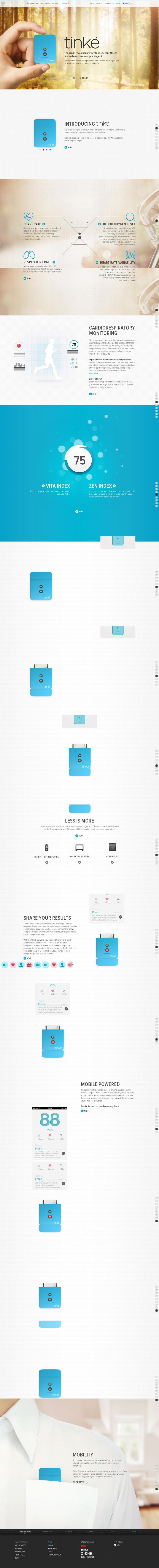 product page; story; one page; animations