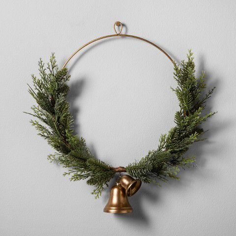 Magnolia artificial juniper wreath with bell. Really like this it's super pretty.  Aff