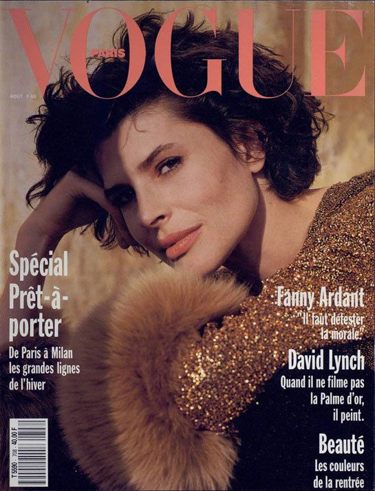 Film and the covers of Vogue Paris: Fanny Ardant on the August 1990 cover of Vogue Paris