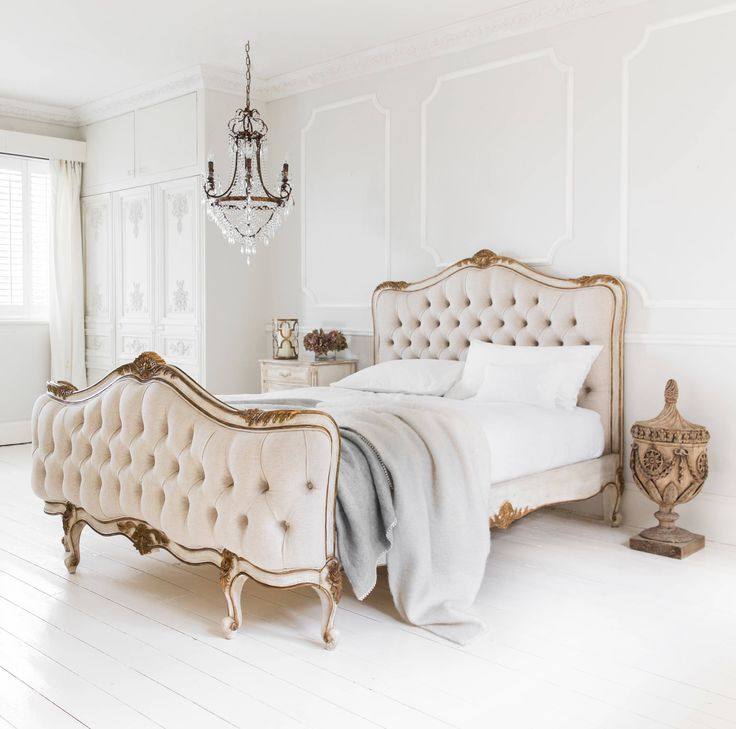 traditional-bedroom french parisian tufted bed diy diamond headboard all white hardwood floors gold versailles inspired pinterest shop room ideas style