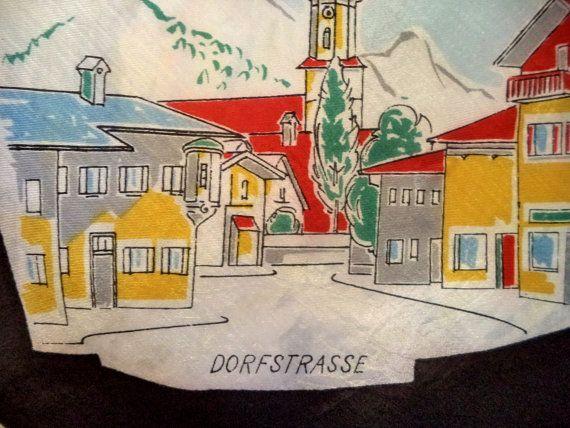 1950s Oberammergau Souvenir Silk Sheer Scarf by MushkaVintage3