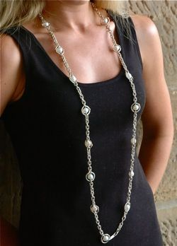The Gatsby: Full Length South Sea Pearl and Sterling Silver Neckchain