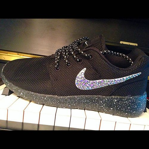 About shoes 100 % authentic Nike Roshe Runs.nike free run, bling nike  shoes, nike air max, Heel and check mark custom The fabric is glued into  the shoe and ...