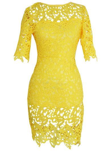 Yellow Hollow Design Round Neck Lace Dress http://www.modlily.com/yellow-hollow-design-round-neck-lace-dress-g120971.html