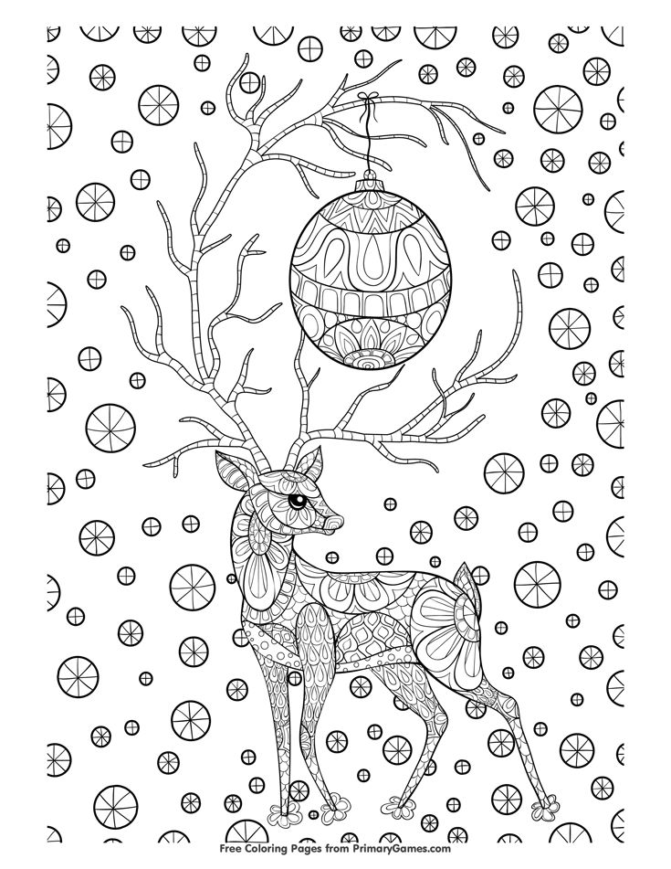 Christmas Coloring Page Zentangle Reindeer