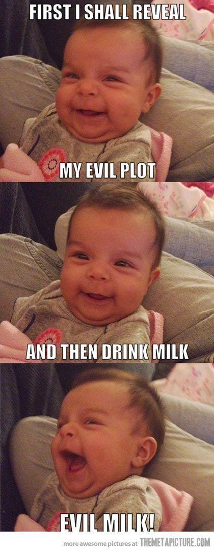 Diabolical baby.Dark Lord, Evil Plot, Funny Pics, Funny Stuff, Evil Baby, Funniest Pictures, Funny Baby, Diabolic Milk, Evil Milk