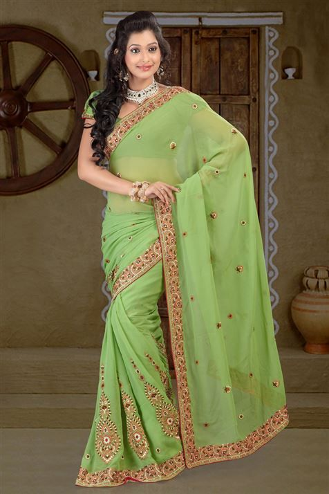 Embroidered Chiffon Green party wear saree