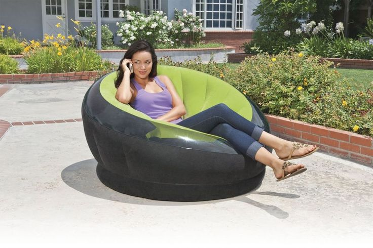 """Intex Empire Inflatable Chair, Green Perfect for living rooms, college dorms Perfect for living rooms, college dorms, or backyard patios Durable 2-ply reinforced bottom, the Empire Chair is perfect for relaxing outside on your patio, deck, or lawn A combo valve with extra-wide openings ensures fast inflating and deflating Approximate inflated size 44"""" x 43"""" x 27"""" Color: lime green Intex Empire Inflatable Chair, 44"""" X 43"""" X 27"""", Green Perfect for living rooms, col..."""