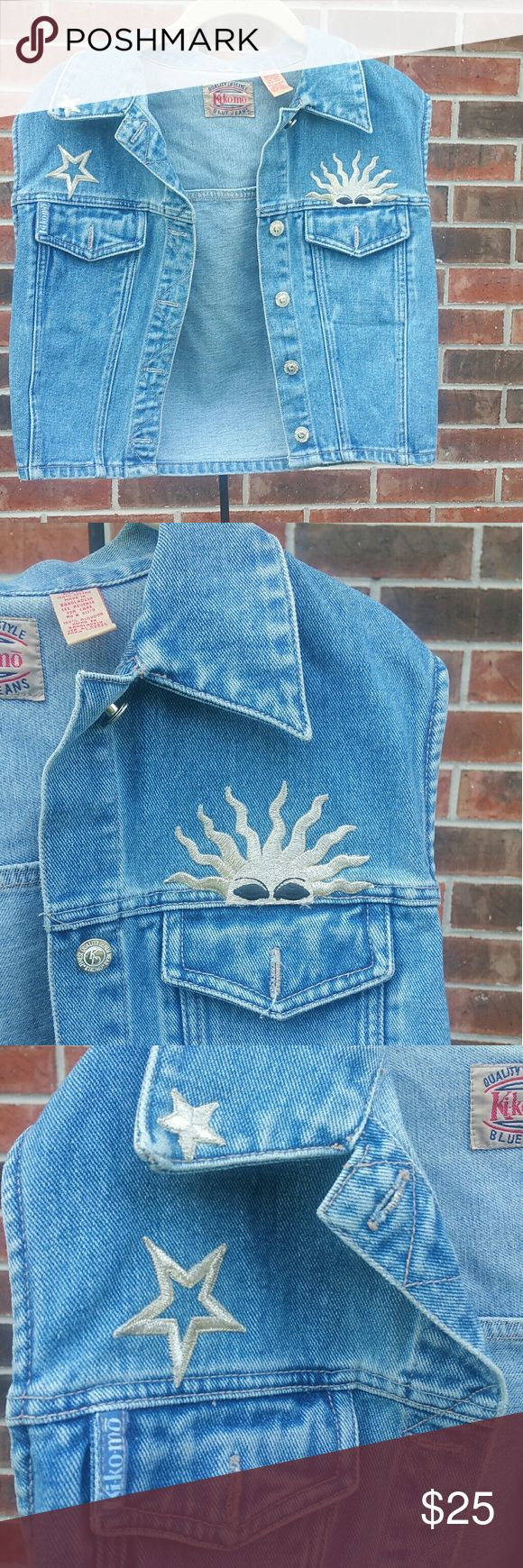 """Ki-Ko-Mo Vintage Blue Jean Medium Crop Denim Vest! Ki-Ko-Mo Vintage Blue Jeans Size Medium Denim Vest In perfect condition :)  100% Cotton Denim Embellished with Setting Sun and Stars Button-up Front and Two Pockets  Approximate Measurements (garment lying flat):  Across Chest: 15.5"""", Across Bottom: 16"""",  Length (from nape): 18""""  Let me know if you have any questions! Ki-Ko-Mo Jackets & Coats Jean Jackets"""