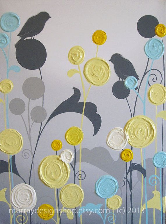 """Yellow and Grey Art / Textured Flowers and Birds, 18x24"""" Acrylic Paintings on Canvas, MADE TO ORDER"""