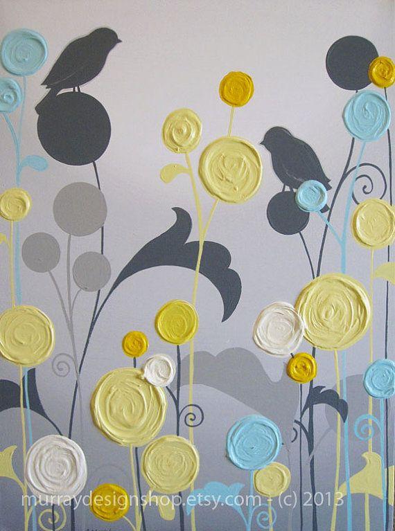 Wall Art Textured Yellow Grey and Aqua Flower by MurrayDesignShop