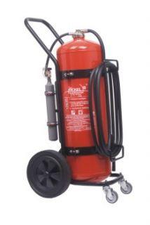 Feuerlöscher Preise? Professionelle #Feuerlöscher online kaufen: fahrbarer Schaum #Feuerlöscher nach EN1866 - #Feuerlöscher mit Räder S50 - 50 Liter Löschschaum