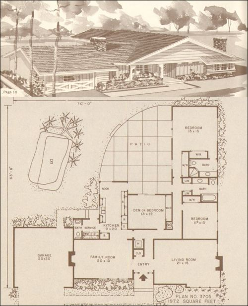 In 1950s suburban homes especially from the earlier part for Retro modern house plans