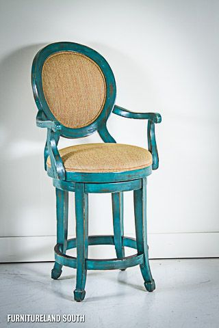 Lorts Distressed Turquoise High Gloss Counter Stool