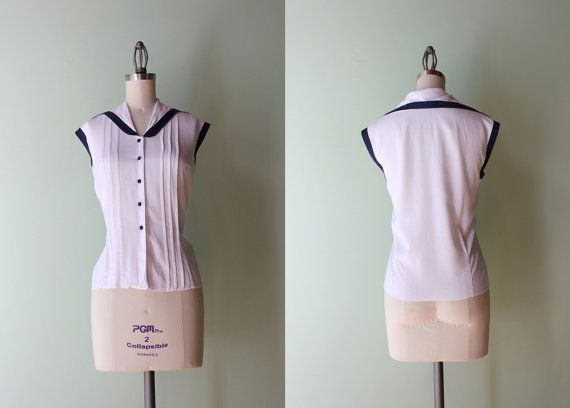 1950s Blouse / Vintage 50s Nautical Blouse / White by HolliePoint