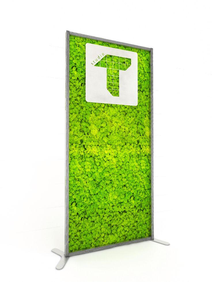 An Italian company present New line  totem in lichene  stabilizzato  (moss) green communication . La COMUNICAZIONE Green totem realizatio in ALLUMINIO verniciato bianco con inserito il logo AZIENDALE