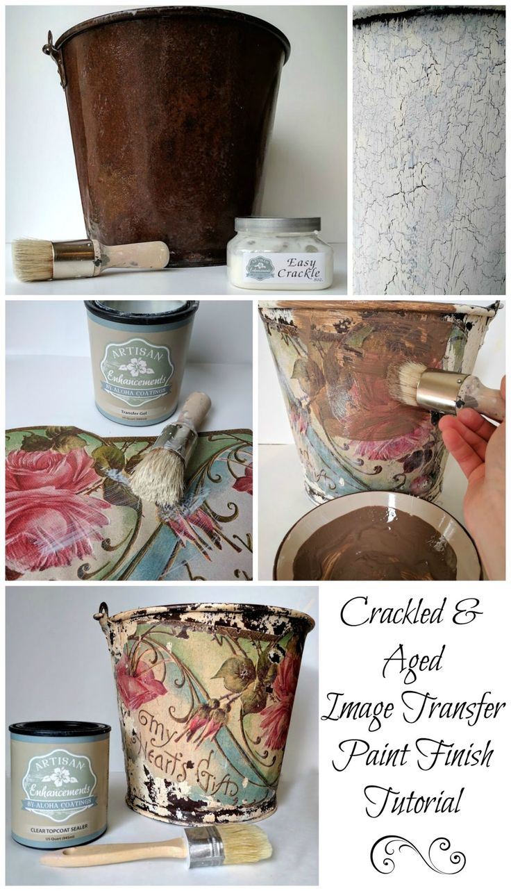 Beautiful vintage inspired, DIY crackle image transfer transformation using Artisan Enhancements Easy Crackle and Transfer Gel.