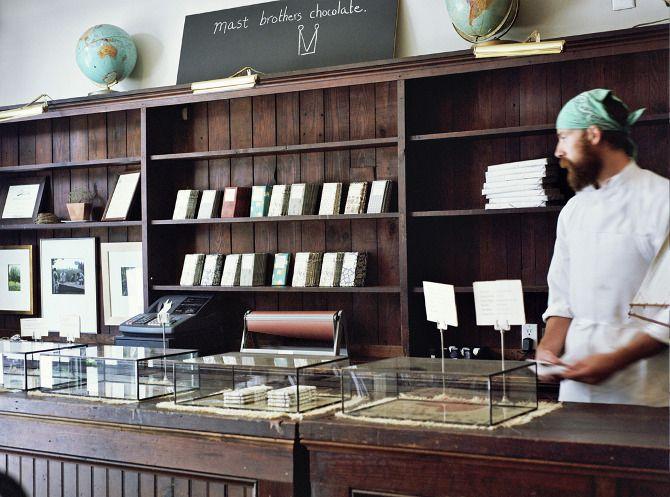 // eat // handmade chocolate in Brooklyn -- Mast Brothers http://mastbrothers.com/Chocolates Shops, Mast Brother, Products Display, Shops Interiors, Beards Men, Jennifer Causey, Brother Chocolates, Display Cases, Brooklyn