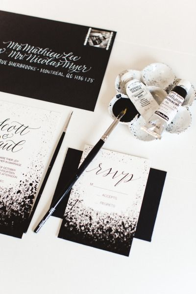 Hand painted invitations: http://www.stylemepretty.com/canada-weddings/quebec/montreal/2015/05/12/modern-black-white-inspiration-shoot/   Photography: Lisa Renault - http://www.lisarenault.com/