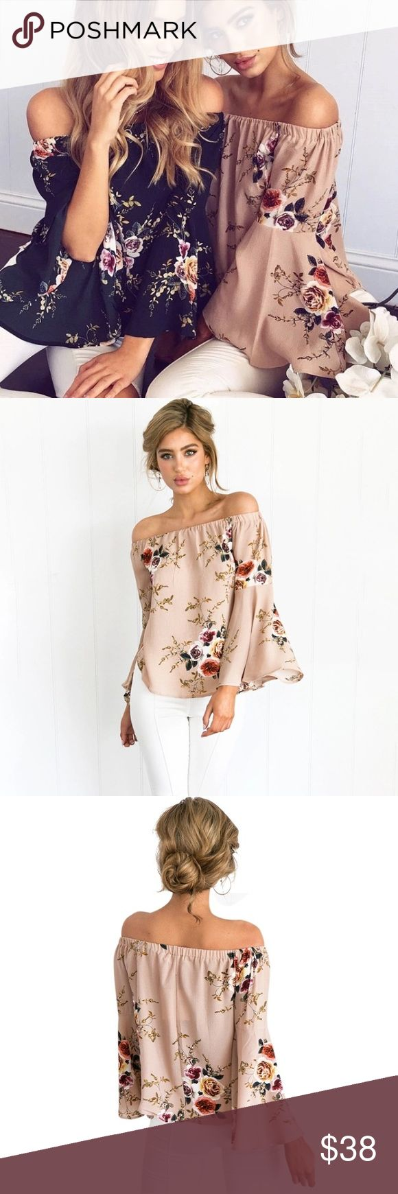 New! Nude Floral Off The Shoulder Top NWT Boutique Item. This nude top features an off the shoulder style, relaxed silhouette, elastic at the shoulders, and a floral pattern design. Pair this top with some high waisted distressed denim and mules. Measurements: Small Size 0-4, Medium Size 6-8, Large Size 10-12 Material: Polyester Color: Nude & Floral Tops Blouses