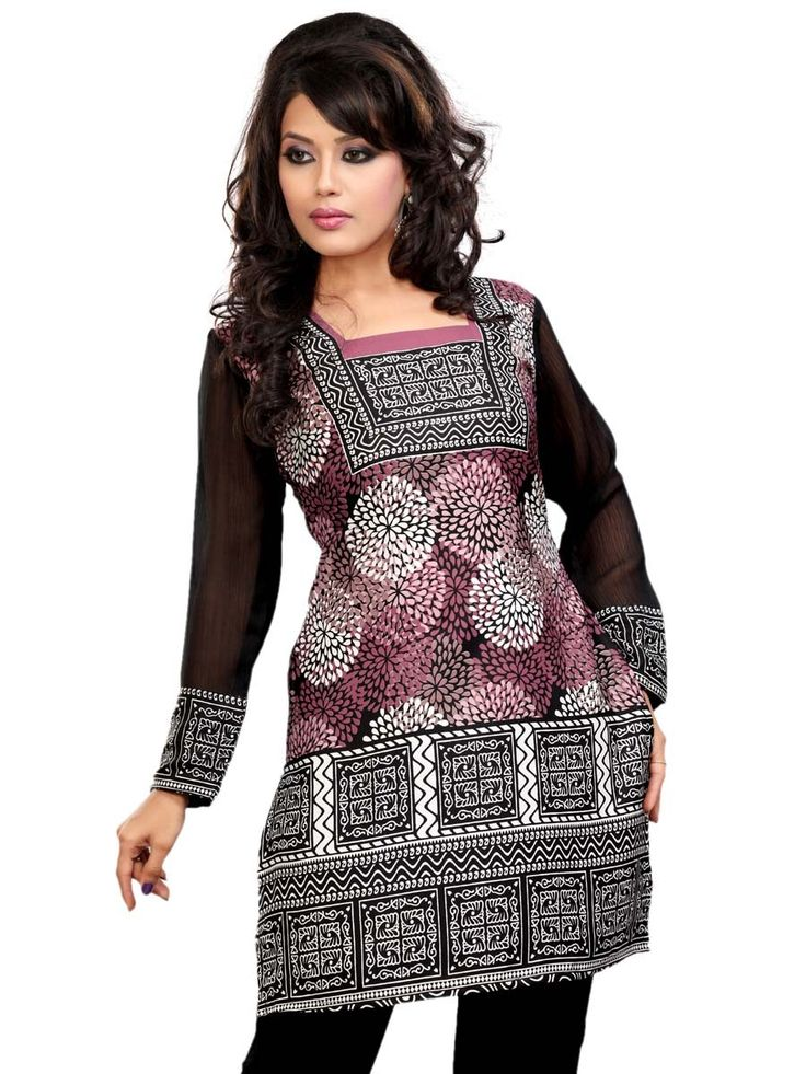 Abstract Print Kurti with square neck and full chiffon sleeves.  Item Code: KLXD42C3EVT http://www.bharatplaza.com/new-arrivals/kurtis.html