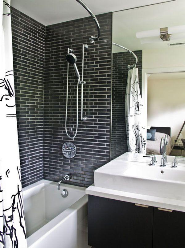 #Bath #Design   Monochrome   #Modern #Decor   Black Tile   #Brick Pattern   White Sink #casas de #banho #rusticas #rustic #bathrooms #tijolos