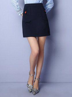 Navy Blue Pockets Plain Girly Mini Skirt
