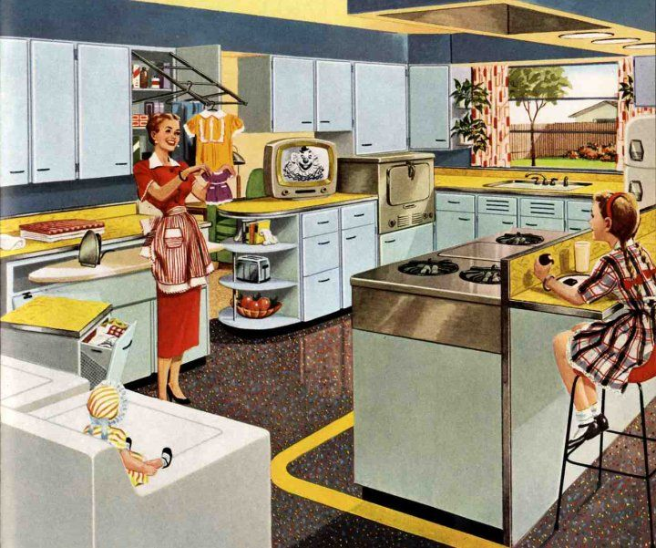 Yellow countertops--yes. Pull-out ironing board--yes. Picture window--yes. Beautiful cooktop--yes. Bozo the Clown on TV--no.