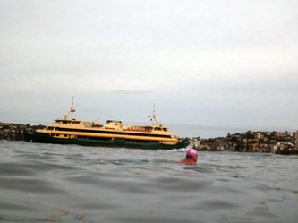 Love this photo of the cheerful pink cap and the Manly ferry in the background