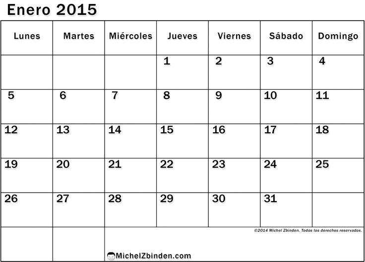 Calendario Enero 2015 Para Imprimir Economico
