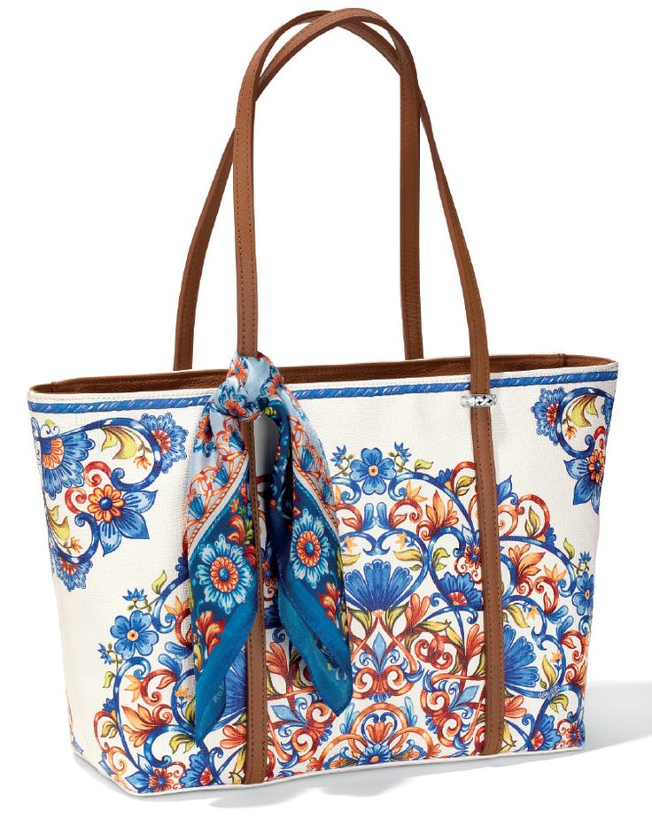 Travel with Brighton's Bellina Scarf Tote all day and get arrive looking flawless for your night on the town with this stain resistant, coated canvas tote with a ziptop close. The Piatto Scarf is a bonus!