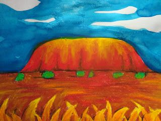 Uluru in Oil Pastel and Ink but I would do using paper and coloured dusts