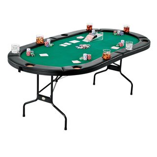 Take your poker nights to the next level with this poker and blackjack table top. Solid and durable, one side of this top is an 8-player position poker table complete with individual trays for poker c
