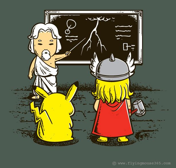 Zeus instructs Thor and Pikachu