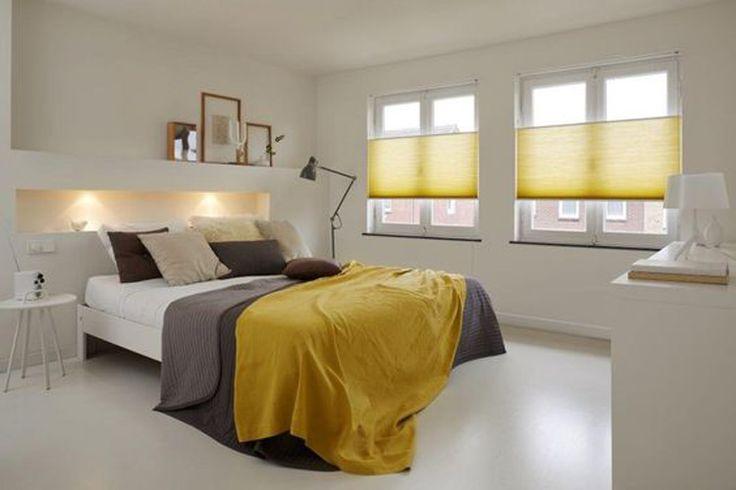 Plissegordijnen geel slaapkamer