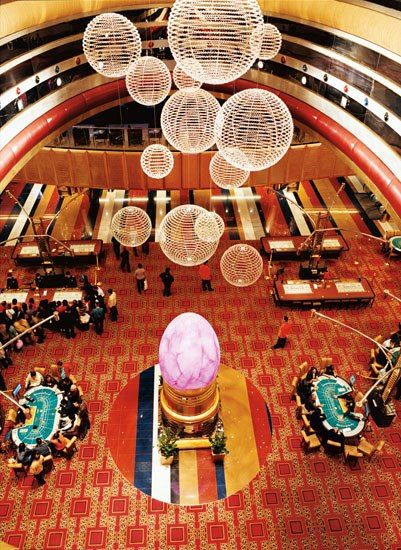 The Grand Lisboa's casino in Macau is a 24-hour gambling mecca that includes 480 gaming machines and 240 tables for poker, baccarat, and roulette.
