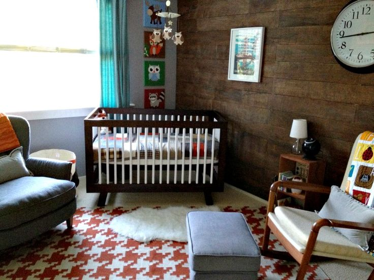 Fox-Inspired Nursery with Wood Accent Wall - #nursery #nurserydecor #rug: Houndstooth Rugs, Foxes Nurseries, Inspiration Nurseries, Baby Boys, Projects Nurseries, Wood Wall, Foxes Inspiration, Fantastic Mr Foxes, Woodland Nurseries