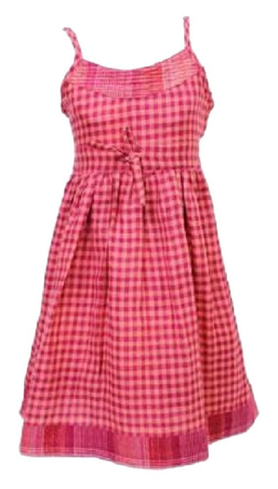 Girls Dress New Next Check Print Pink & Peach Strappy Summer Dress.Sizes:2-5yrs