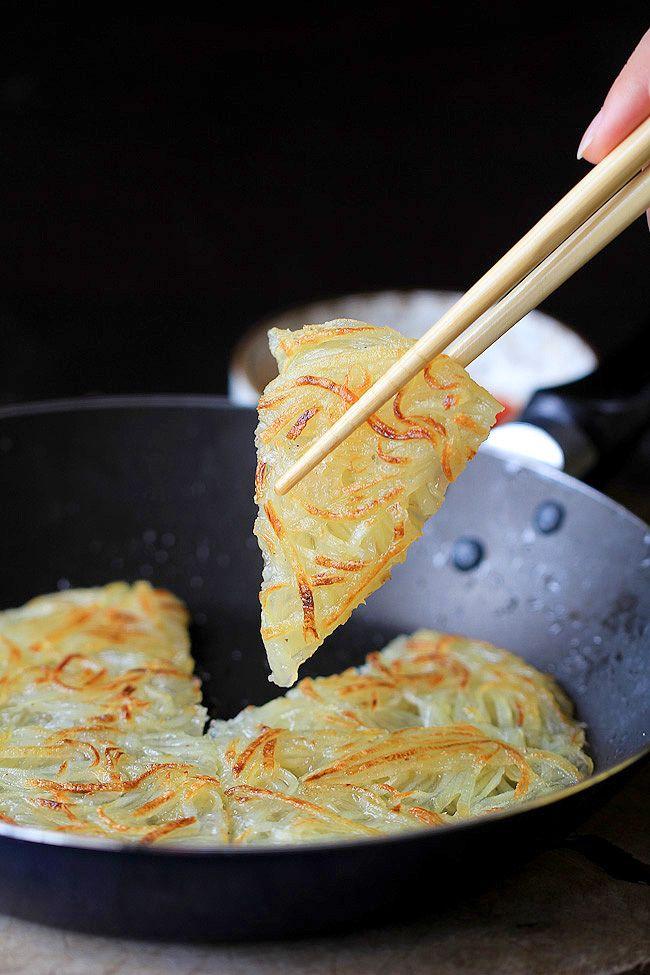 Chinese potato pancake-use water or vegan friendly stock.
