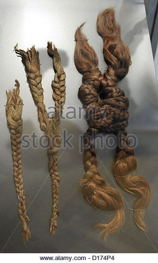 Bronze Age. Four interlaced plaits. From Farup at Vindum, central Jutland. C. 350 BC. National Museum of Denmark. - Stock Image