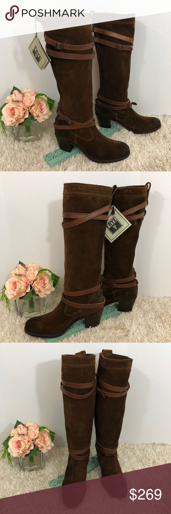 Frye NWT Jane Strappy Brown Knee High Tall Boots Super cool boots! See pictures for details! Bundle for a private discount! Reasonable offers accepted! Frye Shoes Heeled Boots