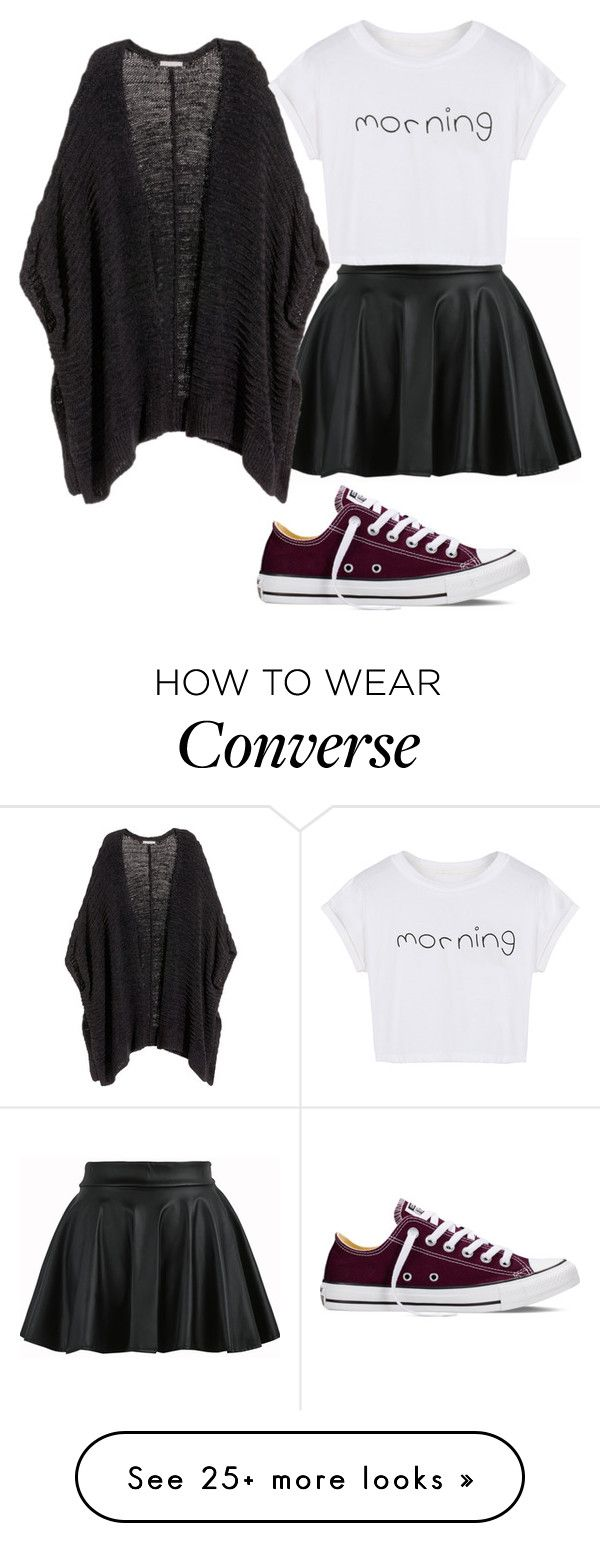 """1"" by nanalowinski on Polyvore featuring H&M, WithChic and Converse"