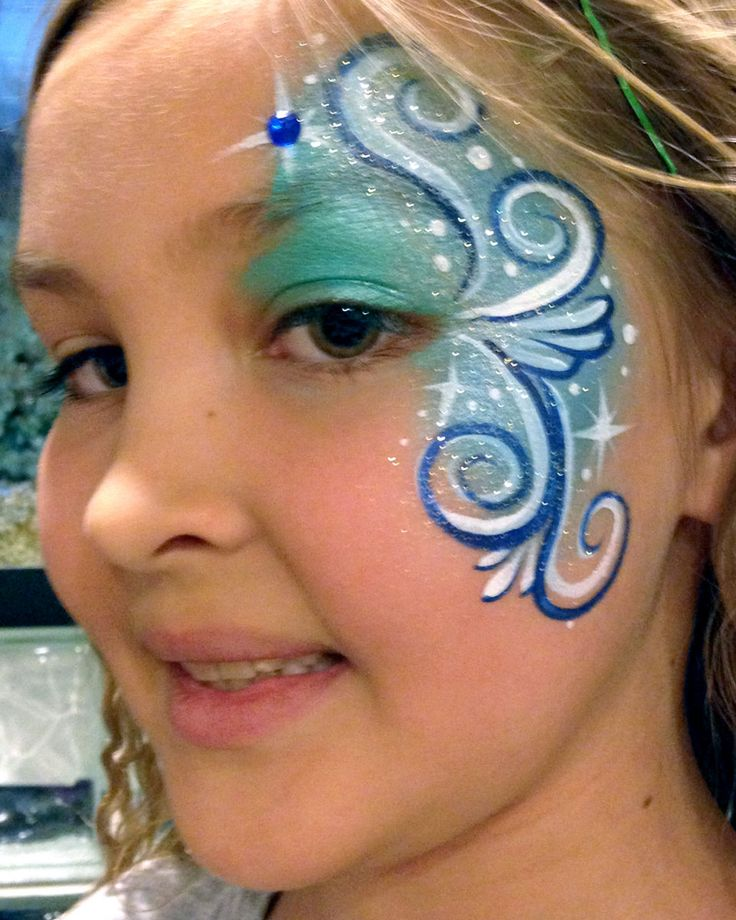 Chicago Face Painting by Valery - Blue Eye Design with Swirls - Chicago-Face Painter-Valery-Lanotte